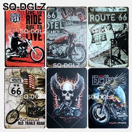rota 66 letreiros de lata Desconto [SQ-DGLZ] Novo ROUTE 66 Tin Sign Cool Motel Metal Artesanato Riding Painting Placas de Arte Poster