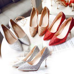 2019 scarpe da sera in argento Scintillanti scarpe da sposa paillettes oro eden tacchi alti scarpe per la festa nuziale da sera scarpe da ballo rosso argento 5 cm 7 cm 9 cm In Stock sconti scarpe da sera in argento