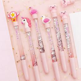penna di anguria Sconti 1 Pz Unicorn penna del gel di Quicksand 0.5mm accessori per la cancelleria sveglia Flamingo Carino Penne novità di Kawaii della penna della scuola