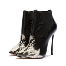 Modelli di scarpe con tacco alto online-2018 nuovo inverno moda stivali modello serpente colore misto tacchi alti stivaletti tacco a spillo spaccato patchwork martin stivali donne scarpe