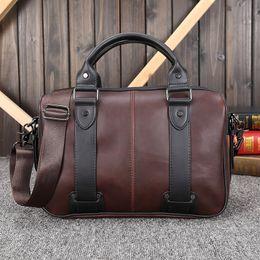 2019 computadoras portátiles de época 2019 fashoin caballo loco PU Nueva portátil de cuero maletín de negocios para los hombres bolsos del hombro Maletines Vintage Tote computadoras portátiles de época baratos