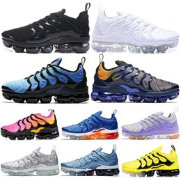 zebra shoes for women Promo Codes - 2019 Olympic TN Plus Running Shoes For Mens Women STRING Work Blue Zebra Bumblebee Fades Blue Betrue Tns Sports Sneakers Size 36-45