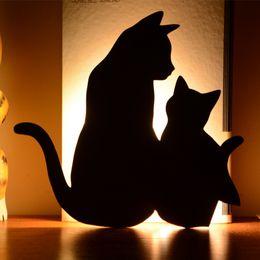 Applique murale décorative pour chat luminaire LED cucoloris éclairage intérieur lampe capteur de son chambre lumière animal miroir luminaire ? partir de fabricateur