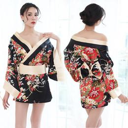 50c1c9dba56 Женщины японское кимоно сакура цветочные кимоно халат сексуальная ночная  рубашка пижамы юката элегантные повседневные спа халаты япония сексуальные  костюмы