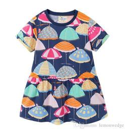 Argentina Venta al por menor Ropa de princesa para niños Nueva niña Paraguas de verano Vestido de algodón de manga corta Vestidos de niña de vacaciones Suministro