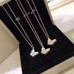 Farfalle in ceramica online-Collana a catena corta a farfalla bianca vintage in argento sterling con due farfalle S925 per gioielli donna