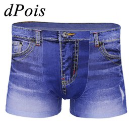 low rise jeans shorts Promo Codes - Hot Sale Adult Men Male Fake Jeans Print Denim Breathable Flat Feet Pants Shorts Clothes Low Rise Stretchy Breathable Jeans