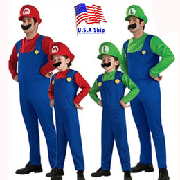 jeux de carnaval enfants Promotion costume national ostume Umorden Halloween Costumes Hommes Costume Super Mario Luigi Brothers Costume Enfants Garçons Combinaison Cosplay Fête Jeu Carnival Fa ...