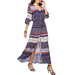 Длинные платья онлайн-Женская V-образным вырезом с длинным рукавом с длинным платьем спереди на пуговицах с вырезом с цветочным принтом Элегантное вечернее платье из хлопка макси
