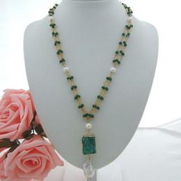 Ciondolo perle di druck online-Collana donna con 3 fili di perle di cristallo bianco perla druzy