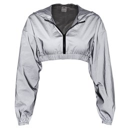 Otoño reflectante con cremallera con capucha de manga larga Crop Womens Lady conjunto de ropa con capucha reflectante Mini faldas lápiz desde fabricantes