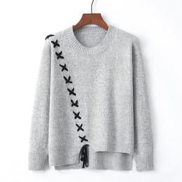 Кружевные шорты онлайн-2018 осень зима новый корейский Повседневный свитер Женщины Узелок Кроссовер Свитера Мода Пуловер Топ Асимметричная Hem Sueter Mujer Y190923