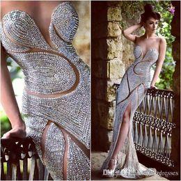 2019 comprimentos de strass 2019 Custom made Prom Vestidos de Noite de Luxo Jóias Strass Sheer Jewel Espartilho Sereia Até O Chão Vestidos de Celebridades Do Tapete Vermelho comprimentos de strass barato