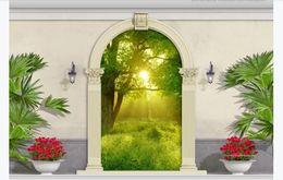 3d fototapete benutzerdefinierte 3d wandbilder wallpaper europäischen garten bögen wald landschaft 3d tv sofa hintergrund wand papier für wände von Fabrikanten