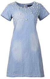 Perle verschönertes kleid online-Damen Plus-Size Slim Fit Mode Lässig Denim Kleid mit Perlen verziert