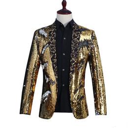 gold pailletten kleid schal Rabatt Mens Shiny Gold Pailletten Schal Kragen Blazer Jacke Männer Nachtclub Prom Satge Kleid Blazer DJ Hochzeit Sänger Kostüm