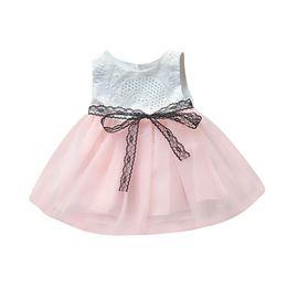 Netzspitze online-Nettes Baby-Kleid-Sommer-neugeborenes Baby-Sleeveless Knopf Bownknot Spitze-Nettogarn-Prinzessin Tutu Dress Clothes 6-24M