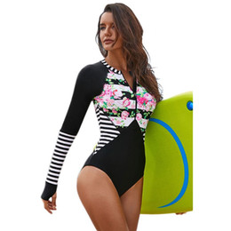 859d53aa764a8 Womens Plus Size One Piece Long Sleeve Rash Guard UV Protection Floral  Stripes Printed Surfing Swimsuit Zip Front Padded Bathing