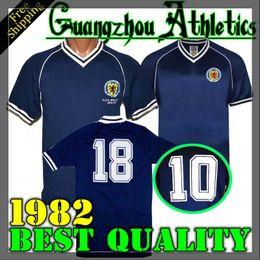 Camiseta de futbol de escocia online-1982 Escocia camiseta de fútbol retro casa azul 39 QSTURM 10 MARTIN 8 MARRÓN 11 RITCHIE 13 FORREST 1983 Camiseta de fútbol Sudadera S-XXL