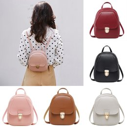 Летние наушники онлайн-Summer New Fashion Small Backpack Solid Softback Headphone Hole Phone Purse Female Backpack Soft Handle Pu Leather Student Bag