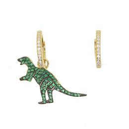 Deutschland baumeln Charme Ohrring Dinosaurier Ohrringe 925 Sterling Silber vergoldet Mikro pave grün CZ Lovely Schmuck für Frauen und Mädchen cheap dinosaur plates Versorgung