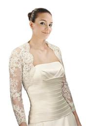 più le giacche nuziali eleganti eleganti Sconti 2019 Elegante Pizzo Maniche Lunghe Illusion Wedding Bridal Giacche Bolero Bianco Avorio Custom Made Designer Per Abito Da Sposa Abiti plus size