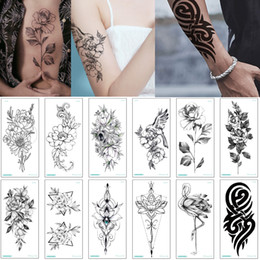 black arts festival Promo Codes - Lotus Flower Peony Temporary Jewelry Tattoo Simple Hand Arm Chest Leg Fake Black Totem Tattoo Ink Painting Sticker Design Festival Party Art