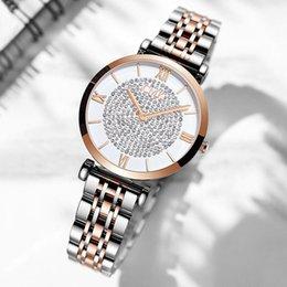 2019 le donne di cristallo pieno guarda Il nuovo braccialetto di cristallo delle donne di lusso guarda 2019 orologio da polso al quarzo dell'orologio pieno di acciaio di marca delle signore di modo superiori di marca sconti le donne di cristallo pieno guarda