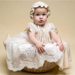 vestido de comunión escote ilusión Rebajas Champagne ligero de encaje vestidos de bautizo para niñas bebés joya cuello baratos vestidos largos bautismo por encargo primer vestido de la comunicación
