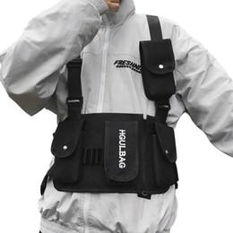 Тактическая сумка для талии онлайн-Мужчины Грудь Rig Bag Женщины Талия Пакет Хип-Хоп Плечо Crossbody Человек Тактический Kanye West Vest Сундук Черные Уличные Сумки 510