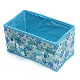 2019 dobra sacos por atacado Atacado 5pcs dobrável Multifuncional Make Up Cosméticos Storage Box Container Bag - Azul desconto dobra sacos por atacado