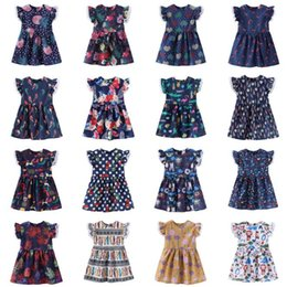 238f91cda Ins Baby Girls Dress Lace Flying Sleeves New Summer Flower Printed Lovely  Cartoon Princess Party Kids Girls Dress MMA1596