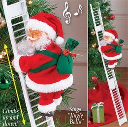 gold sterne weihnachtsschmuck großhandel Rabatt Elektrischer Weihnachtsmann Klettern Leiter Puppe Dekoration Plüsch Puppe Spielzeug für Xmas Party Home Türwanddekoration