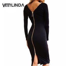 VESTLINDA Bodycon Sheath Dress Little Black Long Sleeve Party Dresses Women  Back Full Zipper Robe Sexy Femme Pencil Tight Dress Y181227 3d868fe4a725