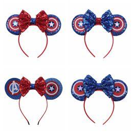 Amerika stirnbänder online-Avengers Baby Bogen Stirnband Kinder Mädchen Pailletten Captain America Haarsticks Kinder Headwear Mode Haarschmuck TTA929