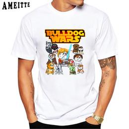 2019 engraçado buldogue Nova Moda Verão dos homens de Manga Curta Bulldog Wars Imprimir T-Shirt Animal Engraçado Dos Desenhos Animados Projeto Branco Tees Legal Dos Homens Casual Tops engraçado buldogue barato