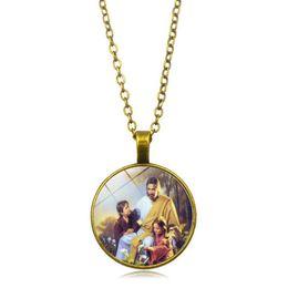 Jesus cristo on-line-12 unidades / lotes nova moda christ jesus retro liga de vidro colar de pingente camisola cadeia religiosa jóias por atacado 19 estilos