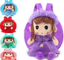 Juguetes blandos mochilas escolares online-24x24x6cm 10sets Cute Lovey Brown Hair Girl Toys Mochila Bebé 3D Toys kindergarten Soft Plush Toys Bolsas de hombro Mini Small School Bag DHL