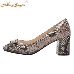 famous blocks Promo Codes - Nancyjayjii Vara Butterfly Knot Round Head Snake Print Sexy Block Pumps Dress Party Women Shoes Famous Brand 2019
