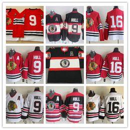 Juego usado camisetas de hockey online-Hombre blancas de Chicago Blackhawks casco de Bobby VENDIMIA 1963 jerseys # 16 Blackhawks casco de Bobby juego desgastados Red de hockey Jersey S-3XL