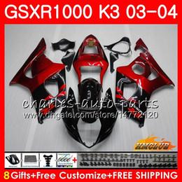 corredo gsxr in metallo rosso Sconti Corpo per SUZUKI GSXR-1000 K3 GSXR1000 03 04 Carrozzeria 15HC.0 Telaio GSX-R1000 GSX R1000 03 04 GSXR 1000 2003 2004 Kit carena Vino rosso nero