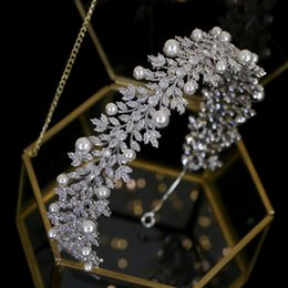 acessórios de cabelo do vintage tiara pérola elegante acessórios do casamento banda acessórios de cabelo de noiva Headpieces cocar de