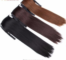"2019 False Hair Tress Clip in Pferdeschwanz Blond Braun Weiß Schwarz Extensions Fake Pony Tail 18 ""Synthetic Hair von Fabrikanten"