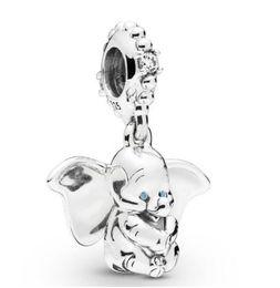 Pingente de prata azul on-line-Original Jóias 925 Sterling Silver Bead encanto Dumbo Olhos Azuis Pendant Beads Fit Pandora Mulheres Pulseira DIY colar