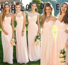 red flowing formal dresses Coupons - 2019 Pink Navy Cheap Long Bridesmaid Dresses Mixed Neckline Flow Chiffon Summer Blush Bridesmaid Formal Prom Party Dresses with Ruffles