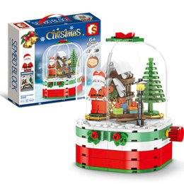 NEW Christmas Sets Santa Claus crystal ball Sleigh reindeer Village Train  compatible legoINGLs Building blocks bricks Toys Gift Hot sale