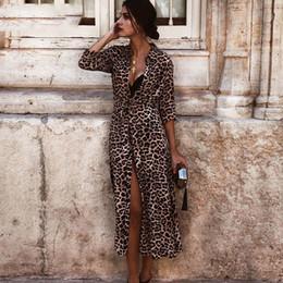 Sexy V Neck Leopardo Vestido Longo Mulheres Vintage Elegante Festa Maxi Vestidos 2019 Casual Imprimir Verão Vestido Longo Vestidos de Fornecedores de mais tamanho vestido de joelho apertado