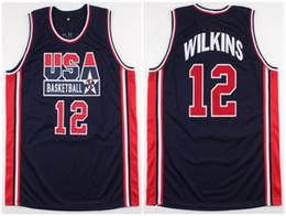 basquete olímpico camisolas Desconto 1994 Equipe olímpica Sonho EUA Dominique Wilkins # 12 Retro Basketball Jersey Mens Costurado Personalizado Qualquer Número Nome Jerseys