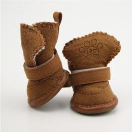 Botte de chien de neige en Ligne-4pcs / set antidérapant chaussures chien nounours pour animaux de compagnie bottes de neige fond doux épais petits chiens hiver bottes de coton doux Drop Shipping