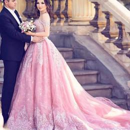 2019 Barato de lujo vestido de bola vestidos de quinceañera rosa fuera del hombro apliques de encaje corsé barrido tren dulce 16 fiesta de baile vestidos de noche sexy desde fabricantes